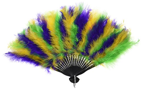 Beistle 57221 Mardi Gras Feather Fan, 12-Inch by 20-Inch