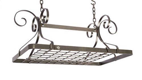- Enclume Decor Rectangle Ceiling Rack with Grid, Hammered Steel