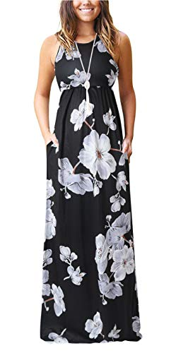 ZZER Women Sleeveless Floral Racerback Loose Plain Maxi Dresses Casual Beach Long Dresses with ()