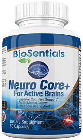 NeuroCore+ - The Extra-Strength Nootropic Brain Booster Supplement | Fast Acting, All-Natural BioSentials Focus Brain Memory Supplements Promote Rapid Recall, Crystal Clarity & All-Day Energy