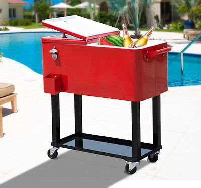 GHP 80quart Party Portable Rolling Cooler Cart Ice Beer Beverage Chest