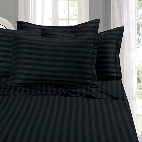 - Grandeur Linens 1000 Thread Count Four (4) Piece Queen Size Black Stripe Bed Sheet Set, 100% Egyptian Cotton, Deep Pocket