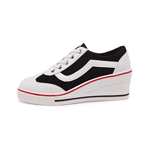 Women's Canvas High-Heeled Fashion Sneaker Pump Shoes Black IHfSvTv