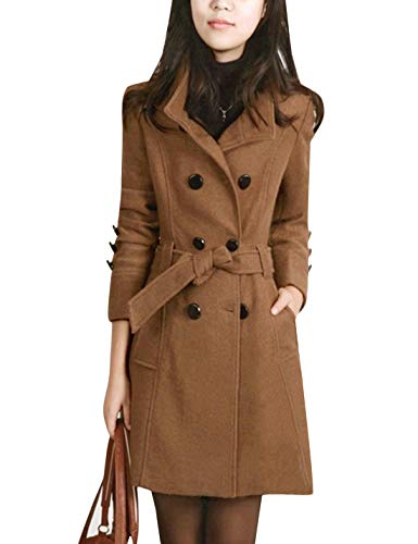Tanming Womens Winter Casual Lapel Wool Blend Double Breasted Pea Coat Trench Coat (Camel, X-Large)