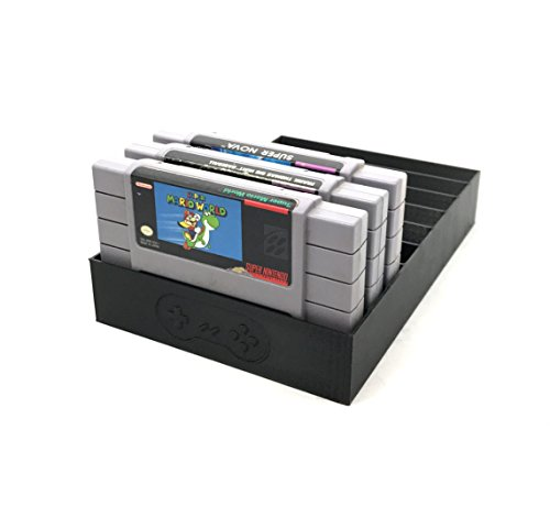 Collector Craft Black Game Organizer Compatible with Nintendo SNES Cartridge, Dust Cover, Cartridge Holder, Super Nintendo Entertainment System