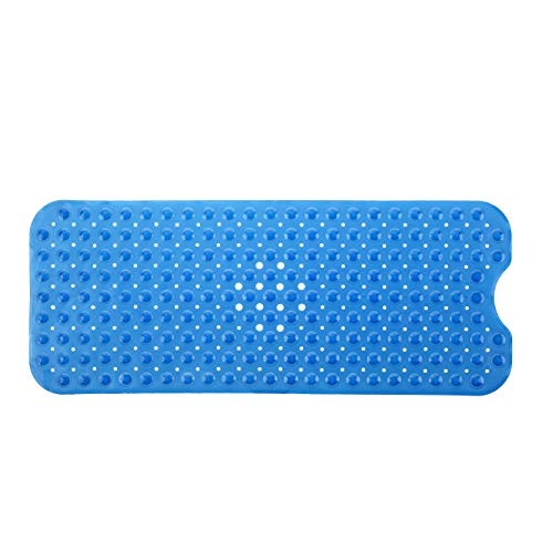 SlipX Solutions Blue Extra Long Bath Mat Adds Non-Slip Traction to Tubs & Showers - 30% Longer than Standard Mats! (200 Suction Cups, 39'' Long - Extended Coverage, Machine Washable) by SlipX Solutions