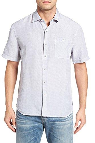 Short Sleeve Linen Camp Shirt - Tommy Bahama Sand Linen Check Linen Camp Shirt (Color Concrete Gray, Size XXL)