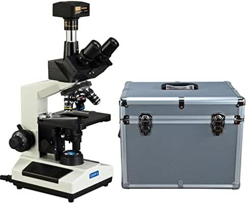 OMAX 40X-2500X Trinocular Compound LED Microscope with 14MP Digital Camera and Aluminum Carrying Case