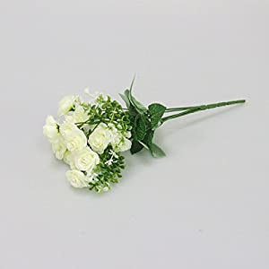FYYDNZA 15 Head Mini Artificial Rose Flower Silk Flowers Simulation Flowers Bouquet For Wedding Home Party Gift Room Decoration,White 15