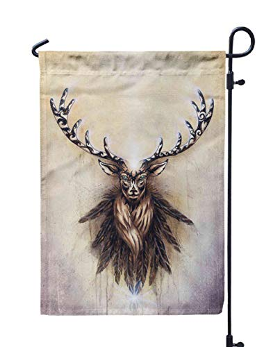 Shorping Welcome Garden Flag, 12x18Inch Sacred Ornamental Deer Spirit Feathers Paper for Holiday and Seasonal Double-Sided Printing Yards Flags]()
