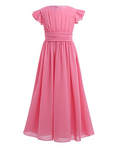 YiZYiF Girls' Kids' Flutter Sleeves Ruffles Bridesmaid Prom Gown Party Long Flower Girl Dress Watermelon Red 12