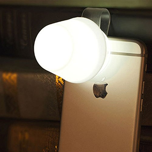 Phone Lamp (ATOWER Stand And Night Light IPhone , Bookmark Silicone Soft Mini Lampshade Clip on Phone Flash LED Light Holder,Mobile Support for Apple IPhone (white))