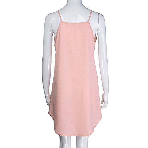 Corto Playa Playa Ansenesna Verano Falda 2018 Mujer Mujer Rosado Tirantes Corto Tul Elegante Casual Vestido Transparente aqqRwx6TC