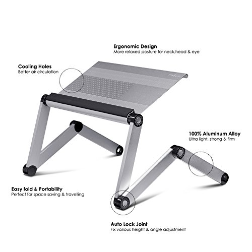 Furinno A6-Silver Ergonomics Aluminum Vented Adjustable Laptop Portable Bed Tray, Silver