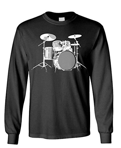 Bass Xl Set (DRUMSET - drum kit percussion bass music - Long Sleeved Tee, XL, Black)