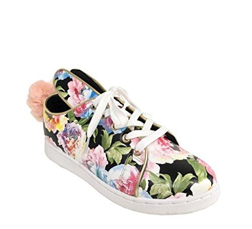 Pantera 1! Dames Bunny Oor Veters Plateau Pompom Sneakers Zwart Multi Kunstleer