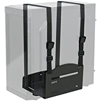 VIVO Black Universal PC Wall Mount - Adjustable Steel Bracket | Computer Case Open Frame Strap Holder (MOUNT-PC03V)