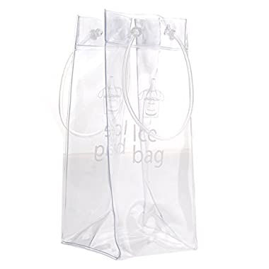 Ice Bag - Nuolux Clear Transparent PVC Champagne Wine Pouch Cooler Bag with Handle