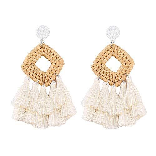 Meangel Rattan Tassel Earrings for Women Bohemian Statement Handmade Woven Drop Dangle Earrings