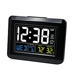 [Upgrade Version] ZHPUAT Digital Alarm Clock Auto Brightness, Both USB Battery Operated, 6 Grades Adjustable Light, 4 Time Zones Auto DST Bedrooms, Black
