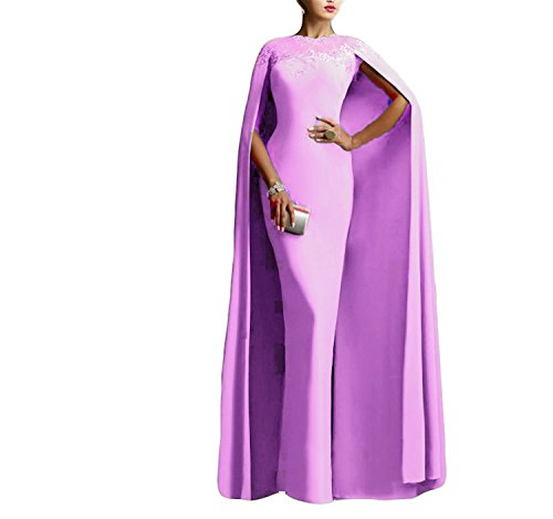 Ellenhouse Women's Long Mermaid Formal Gown Prom Evening Dresses with Cape EL349 Lilac