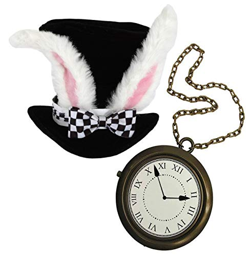 Black Rabbit Halloween Costume (White Rabbit Costume Set, Black Top Hat with White Rabbit Ears, with Jumbo Clock Necklace, Halloween Costume Accessory's Hip Hop Rapper Costume by 4E's)