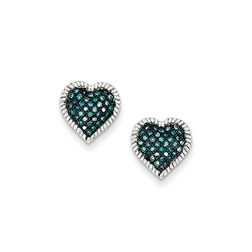 Sterling Silver Blue Diamond Heart Post Earrings by CoutureJewelers