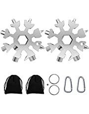 Snowflake Multi-Tool, 18-in-1 Snowflake Tool Stainless Steel with a Gift Bag, a Key Ring and a Carabiner Clip,Multitool,Great Gift