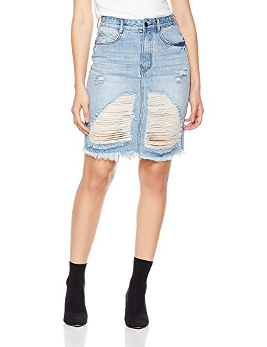Rise Denim Pencil Skirts (Lily Parker Women's Destroyed Rips Denim Short Pencil Skirt 29 Light Blue)