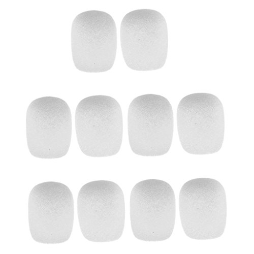Flameer Pack of 10 Sponge Lapel Lavalier Clip-on Microphone Wind Muff Windshield - White (Mic Accessories Windscreens)