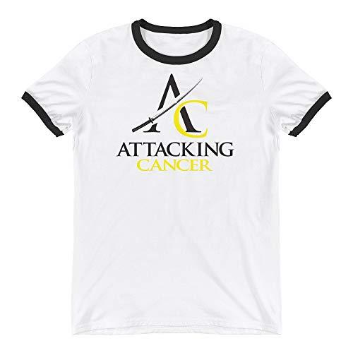 Attacking Cancer Ringer T-Shirt (Bladder/Bone/Sarcoma Cancer) White/Black