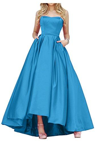 Promkleid Lang Gorgeous Abendmode Hi Satin Bride Abendkleid Traegerlos Einfach Blau Lo fSxZwF8Bqx