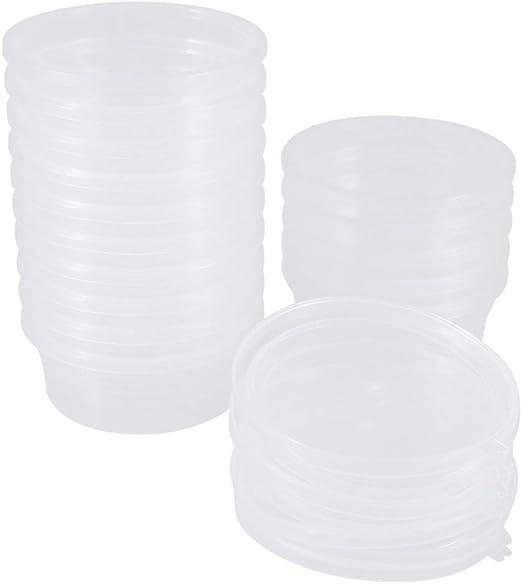 yyuezhi Slime Containers Contenedor de Limo de Plástico 20 Piezas Caja Redonda Slime de Espuma con Tapas a Prueba de Fugas Adecuado para una Variedad de Aplicaciones de Almacenamiento: Amazon.es: Hogar
