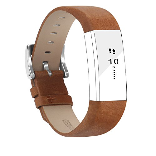 POY Replacement Bands Compatible for Fitbit Alta and Fitbit Alta HR, Genuine Leather Wristbands, Matte Brown