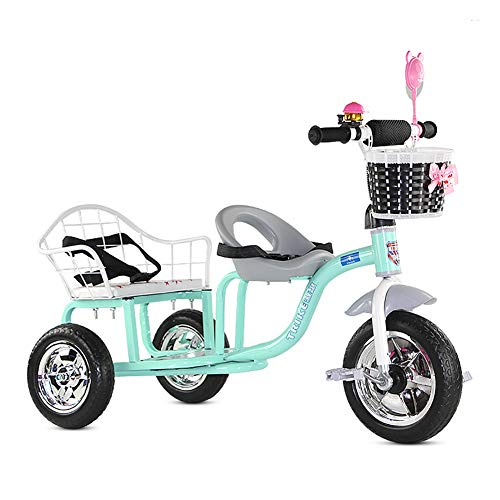 Baby Stroller YXGH@ Children's Tricycle Double Twin Trolley Baby Portable 1-3-6 Years Old Large Baby Carriage
