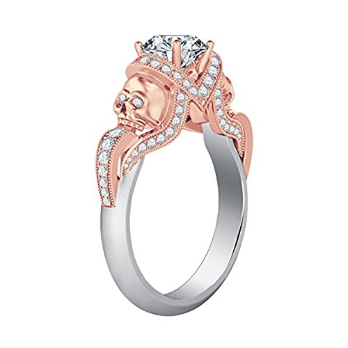 White Skull Rose (14K White & Rose Gold Two-Tone Plated 2.00 Ct Round Cut White Cubic Zirconia Skull Fashion Ring Women's Jewelry Alloy)