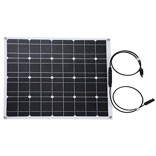 koulate Semi-Flexible ETFE Surface Chip Solar Panel, 12V 50W Portable Waterproof Monocrystalline Solar Panel Frameless DesignCharger Solar Cell
