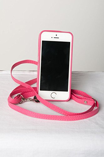 New Crossbody iPhone case for Apple 5 / 5S - Fuchsia Hot Pink - Purse - Wearable -Wallet The Roo