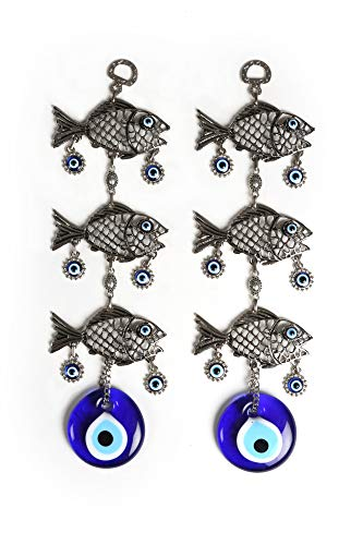 Ahenque 2 Piece Identical Round Evil Eye Glass Wall Hanging with Metal Triple Fish Figure, Turkish Glass Nazar Charm, Hanging Decoration Ornament, Gift for House Warming (Triple Fish)