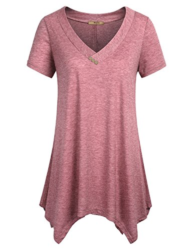 Miusey Plus Size Tunics for Women to Wear with Leggings, Ladies Short Sleeve Shirts V Neck Swing Flowy Summer Lightweight Top Red XXL - Lightweight V-neck Tunic