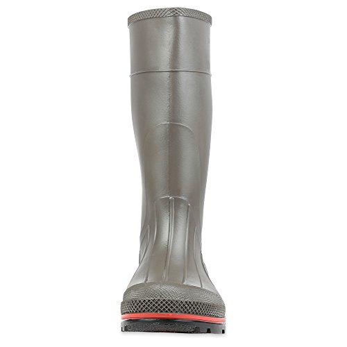 Servus Pro 15 PVC Chemical-Resistant Soft Toe Mens Work Boots, Gray, Red & Black (75102)
