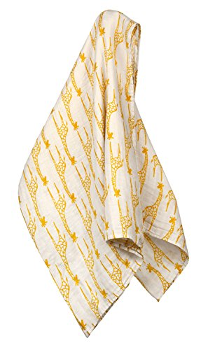 Milkbarn Organic Cotton Swaddle Blanket - Yellow Giraffe