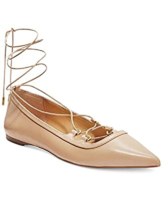 Michael Michael Kors Womens Tabby Leather Pointed Toe Ankle Wrap, Nude, Size 7.0