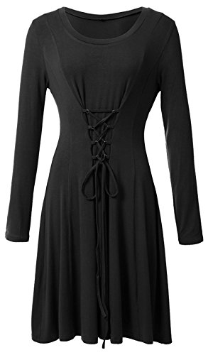 s Black Flowy Front Neck Drawstring Cross Scoop Women Long Dresses Fashion Sleeve Chouyatou 4qwT5Hx
