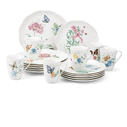 Lenox Butterfly Meadow 18- Piece Dinnerware Set This Porcela