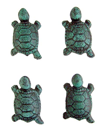 Furniture Turtle Bay - Cast Iron Blue Turtle Drawer Pull Set of 4