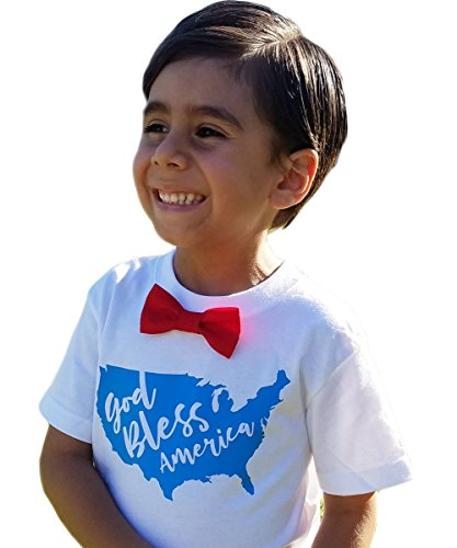 Fourth of July Outfit Toddler Boy Shirt God Bless America Memorial Day Outfit Red Bow Tie