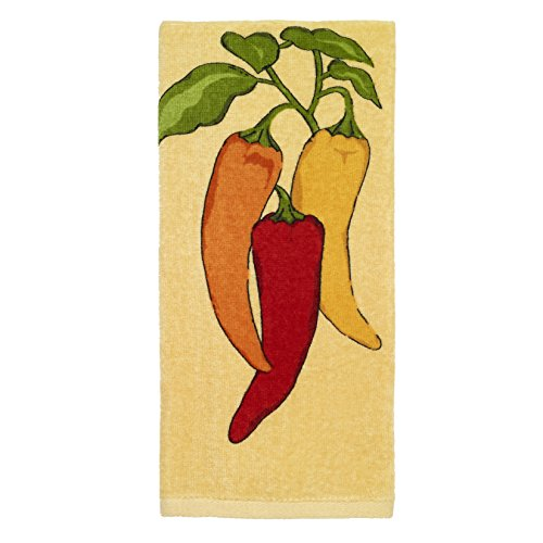 All-Clad Textiles 100-percent Cotton Fiber Reactive Chili Pepper Print Kitchen Towel, 17-inch x 30-inch, Butter Yellow