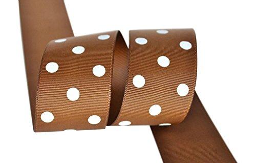 Ribbon Bazaar Grosgrain Polka Dots 1-1/2 inch Turftan By the Yard 100% Polyester Ribbon