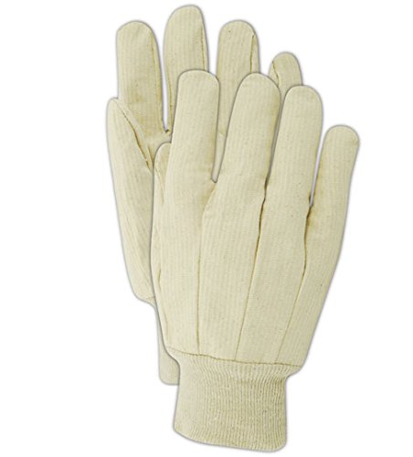 Magid T603 MultiMaster 10 oz. Ribbed Cotton Canvas Gloves, Mens, White (One Dozen) ()